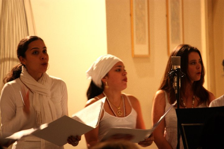 Melissa, Eliane and Collette sing in the Chorus of Time and the Trickster, by David Kayondo